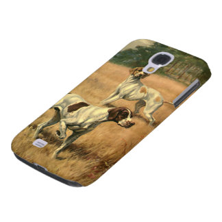 Vintage Animals, Pointer Dogs Hunting in a Field Galaxy S4 Covers