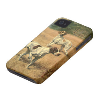 Vintage Animals, Pointer Dogs Hunting in a Field iPhone 4 Case