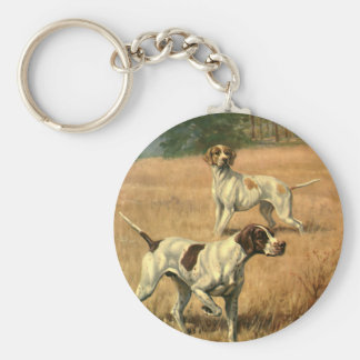 Vintage Animals, Pointer Dogs Hunting in a Field Keychain
