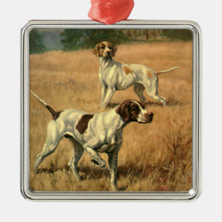 Vintage Animals, Pointer Dogs Hunting in a Field Metal Ornament
