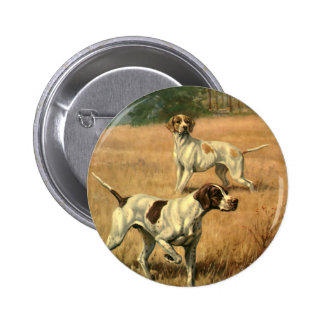 Vintage Animals, Pointer Dogs Hunting in a Field Pinback Button