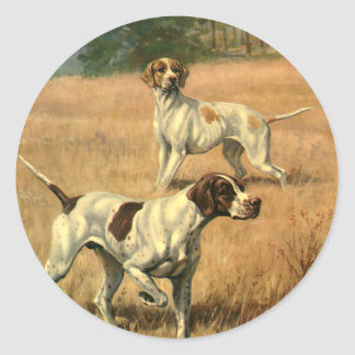 Vintage Animals, Pointer Dogs Hunting in a Field Classic Round Sticker