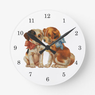 Vintage Animals Puppies Puppy Love, Dogs with Bows Round Clock