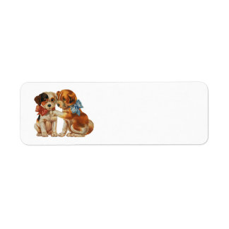 Vintage Animals Puppies Puppy Love, Dogs with Bows Custom Return Address Label