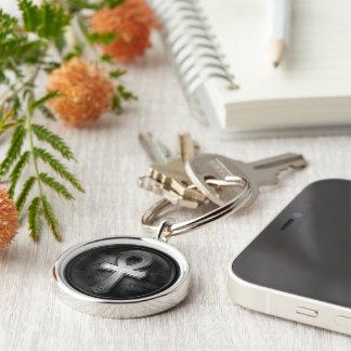 Vintage Ankh Symbol Key of Life Design Silver-Colored Round Keychain