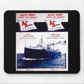 Vintage Ann Arbor Railroad Car Ferry Lake Michigan Mouse Pad