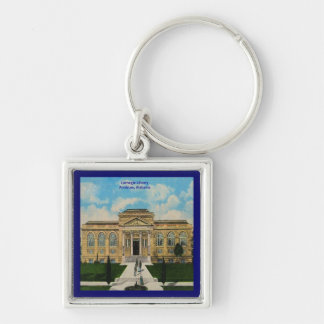 Vintage Anniston, Alabama Carnegie Library Silver-Colored Square Keychain