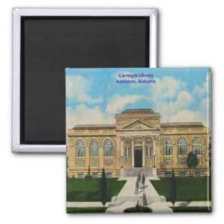 Vintage Anniston, Alabama Carnegie Library 2 Inch Square Magnet