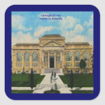 Vintage Anniston, biblioteca de Alabama Carnegie Colcomanias Cuadradas Personalizadas