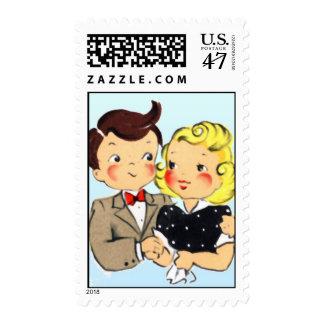 Vintage Anniversary Couple Postage
