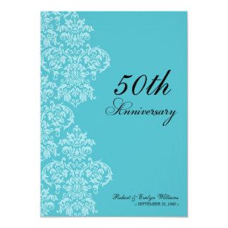 Vintage Anniversary Party Custom Invitation (aqua)