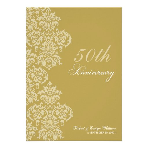 Vintage Anniversary Party Custom Invitation (gold)