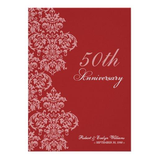 Vintage Anniversary Party Custom Invitation (red)
