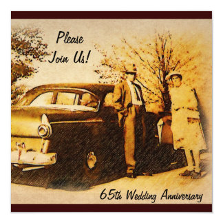"""Vintage Anniversary Party Invite for Milestone 5.25"""" Square Invitation Card"""