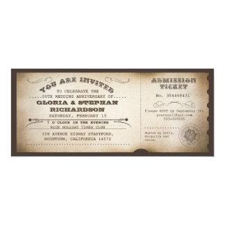 vintage anniversary ticket typography design card