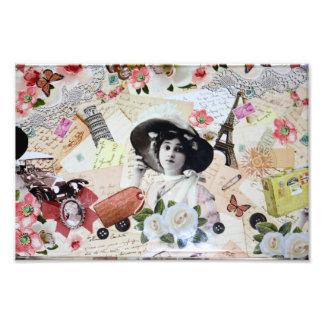 Vintage años 20 de la elegante mujer con sombrero cojinete