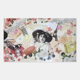 Vintage años 20 de la elegante mujer con sombrero pegatina rectangular