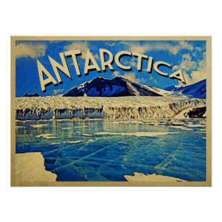 Vintage Antarctica South Pole Poster