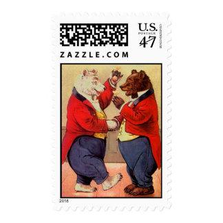 Vintage Anthropomorphic Bears Celebrate Toast Meet Stamp