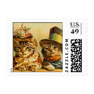 Vintage Anthropomorphic DressedUp Cats On-the-Town Postage Stamp