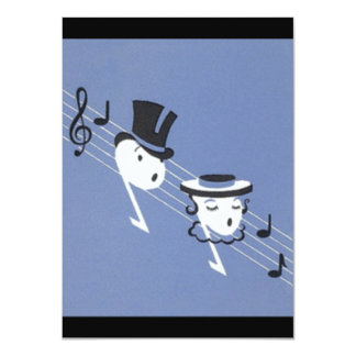 Vintage Anthropomorphic Music Notes Invitations