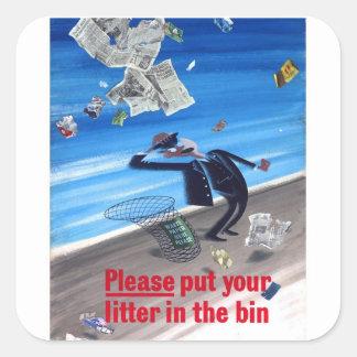 Vintage Anti-Litter Poster Square Sticker