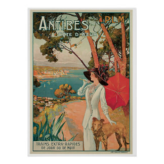Vintage Antibes Cote d Azur Poster