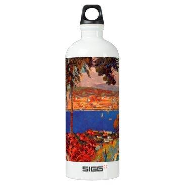 Beach Themed Vintage Antibes Cote D'Azur Travel Aluminum Water Bottle