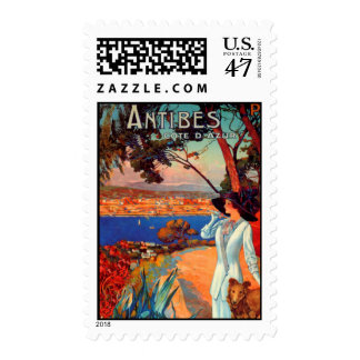 Vintage Antibes Cote D'Azur Travel Art Stamp