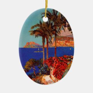 Vintage Antibes Cote D'Azur Travel Ceramic Ornament