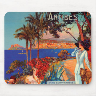 Vintage Antibes Cote D'Azur Travel Mouse Pad