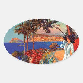 Vintage Antibes Cote D'Azur Travel Oval Sticker