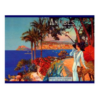 Vintage Antibes Cote D'Azur Travel Postcard
