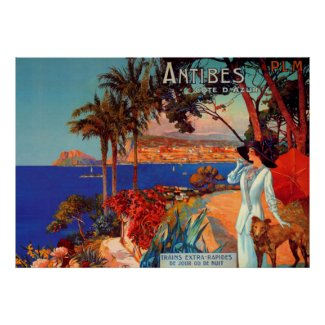 Vintage Antibes Cote D'Azur Travel Poster