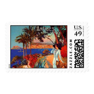 Vintage Antibes Cote D'Azur Travel Stamp