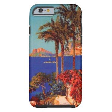 Beach Themed Vintage Antibes Cote D'Azur Travel Tough iPhone 6 Case