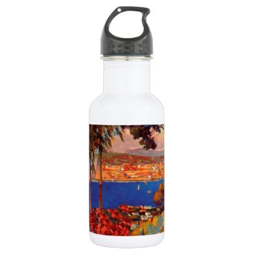 Beach Themed Vintage Antibes Cote D'Azur Travel Water Bottle