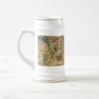 Vintage Antietam Battlefield Map (1862) Beer Stein