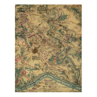 Vintage Antietam Battlefield Map (1862) Postcard