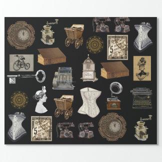 Vintage, antigüedad y obra clásica papel de regalo