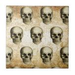 Vintage antiguo de los cráneos góticos de Steampun Azulejo Cuadrado Pequeño