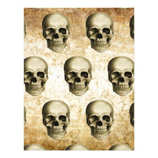 Vintage antiguo de los cráneos góticos de Steampun Membrete A Diseño