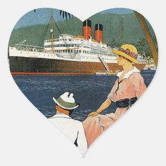 Vintage Antilles Cruise Art Heart Sticker