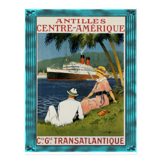 Vintage Antilles Cruise Art Postcard
