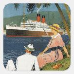 Vintage Antilles Cruise Art Square Stickers