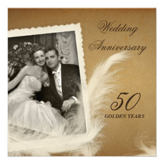 Vintage Antique 50th Anniversary Photo Invitations