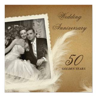 """Vintage Antique 50th Anniversary Photo Invitations 5.25"""" Square Invitation Card"""