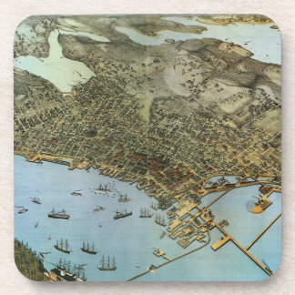 Vintage Antique Aeria Map of Seattle, Washington Beverage Coaster