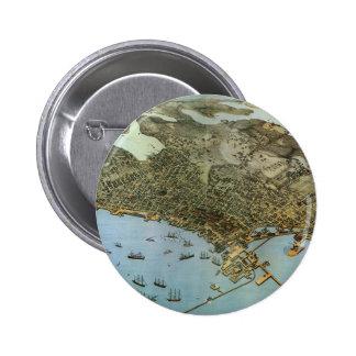 Vintage Antique Aeria Map of Seattle, Washington Buttons