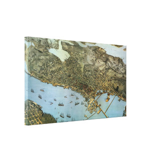 Vintage Antique Aeria Map of Seattle, Washington Canvas Print